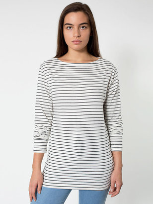 American Apparel Unisex Stripe Long Sleeve Boat Neck Shirt