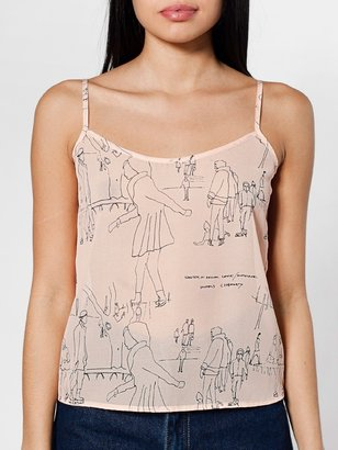 American Apparel Illustrated Chiffon Camisole