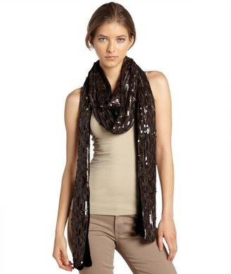 Rachel Zoe chocolate sequin long scarf