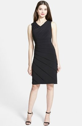 Adrianna Papell V-Neck Shutter Pleat Sheath Dress