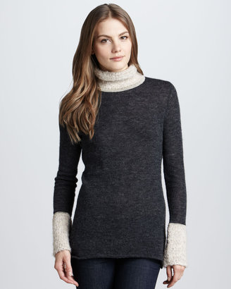 Tory Burch Angelina Boucle-Trim Turtleneck, Evening