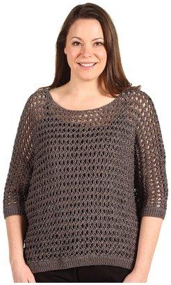 Klein Plus Anne Plus Size 3/4 Sleeve Dolman Boat Neck Sweater (New Steel) - Apparel