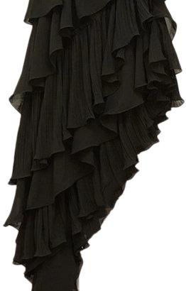 Romwe Oblique Hem Layered Sheer Black Full Dress