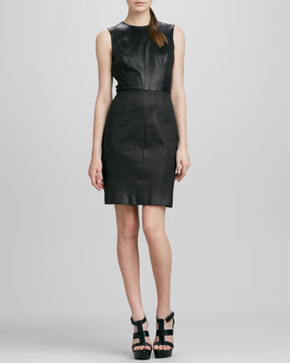 Milly Lisa Leather Combo Dress