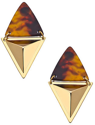 A.V. Max Gold and Tortoise Double Triangle Earrings
