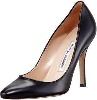 Manolo Blahnik Tuccio Sam Leather Pointed-Toe Pump, Black