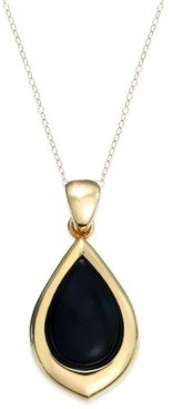 Signature Gold Onyx Teardrop Pendant Necklace (8 ct. t.w.) in 14k Gold over Resin