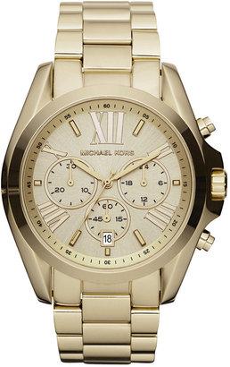 Michael Kors Women's Chronograph Bradshaw Gold-Tone Stainless Steel Bracelet Watch 43mm MK5605 $250 thestylecure.com