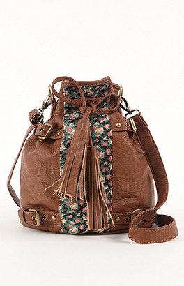 Black Poppy Floral Mixed Media Bucket Bag