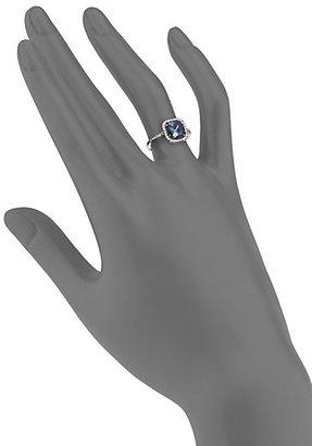 Suzanne Kalan KALAN by English Blue Topaz, White Sapphire & 14K White Gold Cushion Ring