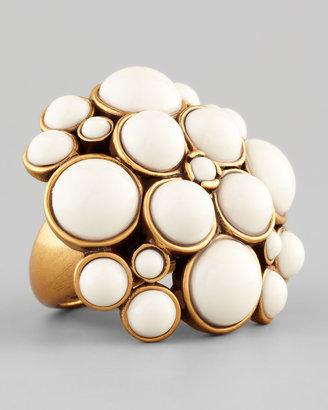 Oscar de la Renta Pave Cabochon Ring, White