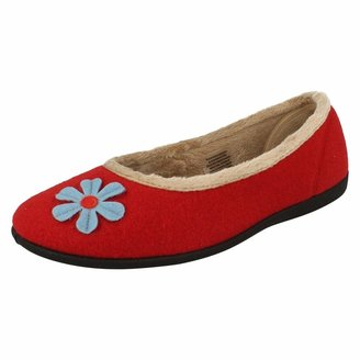 Padders Happy Wide Fitting Womens Memory Foam Ballerina Slippers - Red - UK3