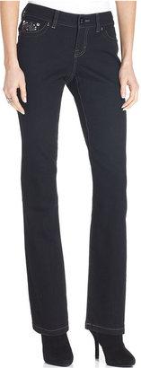 Style&Co. Petite Jeans, Tummy-Control Straight-Leg, Noir Wash
