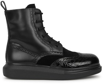 Alexander McQueen Hybrid Black Leather Ankle Boots