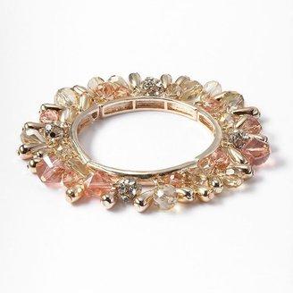 Vera Wang Simply vera gold tone simulated crystal bead stretch bracelet