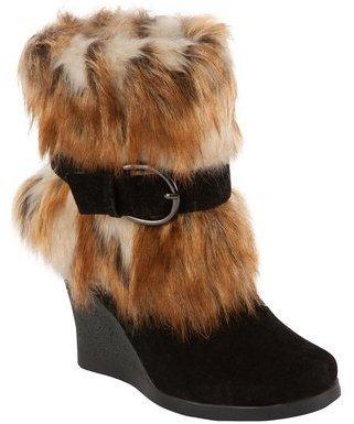 Muk Luks Andrea Women's Belted Faux Fur Wedge Boot Black