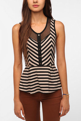 Urban Outfitters Pins and Needles Stripes and Mesh Peplum Tank Top