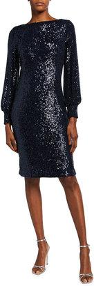 Rickie Freeman For Teri Jon Blouson-Sleeve Sequin Sheath Dress