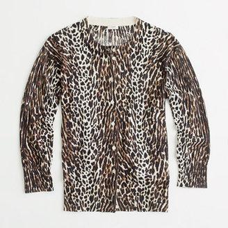 J.Crew Factory Factory classic crewneck cardigan in leopard