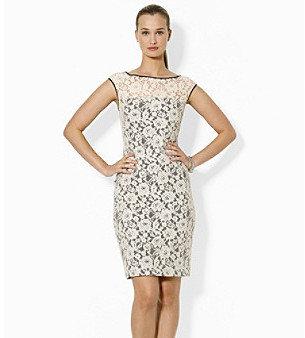 Lauren Ralph Lauren Cap-Sleeved Lace Dress
