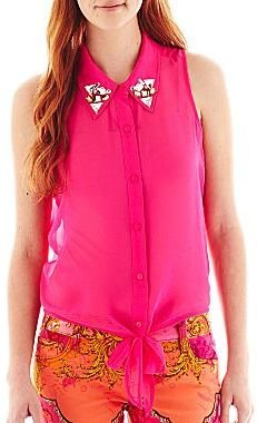JCPenney Decree® Jeweled-Collar Tie-Front Tank Top