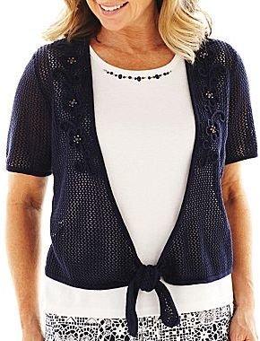 Alfred Dunner Santorini Crochet Tie-Front Sweater - Plus