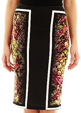 JCPenney Bisou Bisou® Scarf Print Pencil Skirt