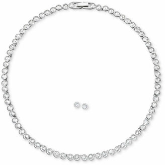 "Swarovski Jewelry Set, Rhodium-Plated Crystal Stud Earrings and 15"" Collar Necklace"