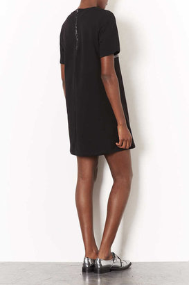 Topshop Faux Leather Sweat Tee Dress