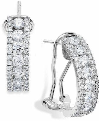 Arabella Sterling Silver Swarovski Zirconia Three-Row Hoop Earrings (4 ct. t.w.)