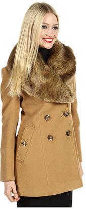 Nicole Miller Fur Trim Peacoat