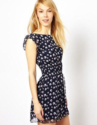 Yumi Bow Print Dress - Blue