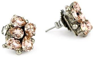 "Sorrelli French Blush"" Pear Crystal Cluster Stud Silvertone Earrings"