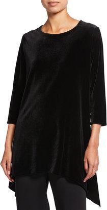 Caroline Rose Plus Size Stretch Velvet 3/4-Sleeve Swing Tunic