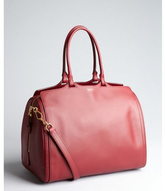 Giorgio Armani black cherry leather convertible satchel