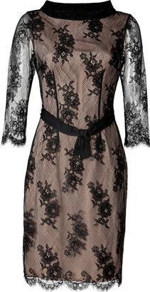 Collette Dinnigan French Noir Roses High Neck Dress in Black/Nude