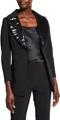 Chiara Boni Sequin Collar Tuxedo Jacket