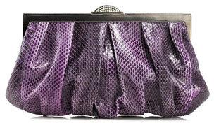 Judith Leiber Couture Natalie Snakeskin Soft Clutch Bag, Purple