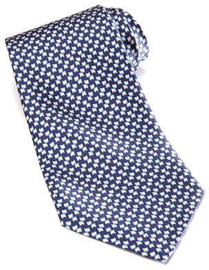 Salvatore Ferragamo Mini-Schnauzer Silk Tie, Navy