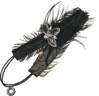 Deepa Gurnani Crystal and feather hairband