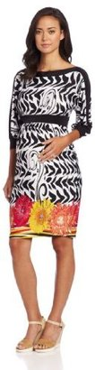 Olian Women's Maternity Boat Neck Print Dress