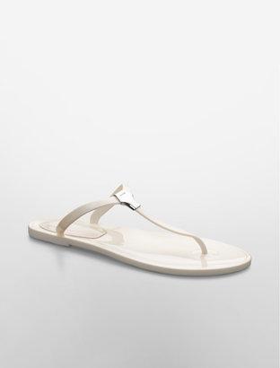 Calvin Klein Jaelee White Jelly Thong Sandal