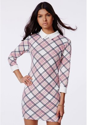 Missguided Maricruz Pink Checked Dress With Collared Detail