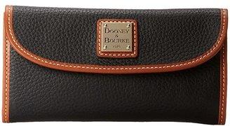 Dooney & Bourke Pebble Leather New SLGS Continental Clutch (Black w/ Tan Trim) Clutch Handbags