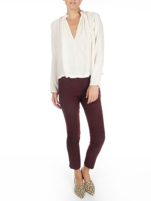 Apiece Apart Cream Shirred Georgia Top
