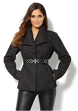 New York & Co. Wrap Tweed Coat with Ribbed Inset