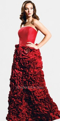 Red Floral Ruched Ball Gown by Nika