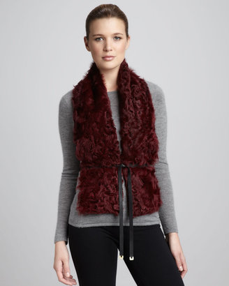 Diane von Furstenberg Curly Lamb Fur Vest, Tiger's Eye