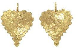 Cathy Waterman Scalloped Hammered Heart Earrings - 22 Karat Gold