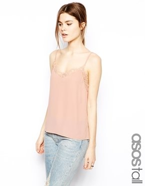 Asos Tall TALL Woven Cami with Lace Neckline - Blush